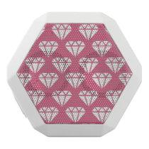 fashion diamond pattern customizable white bluetooth speaker
