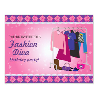 Fashion Diva Birthday Party Custom Announcement