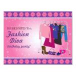 "Fashion Diva Birthday Party 4.25"" X 5.5"" Invitation Card"