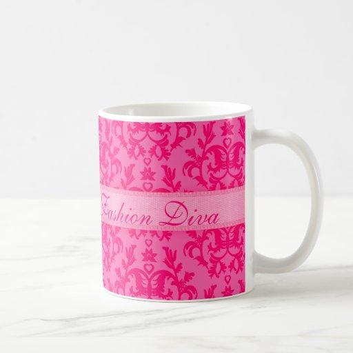 """Fashion Diva"" damask hot pink girls mug"