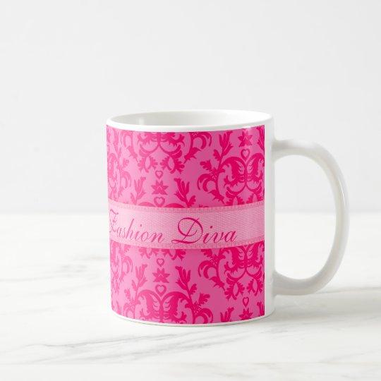 Fashion Diva damask hot pink girls mug
