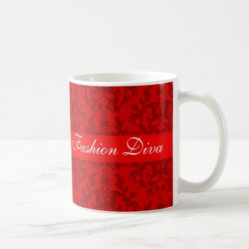 """""""Fashion Diva"""" damask passionate red girls mug"""