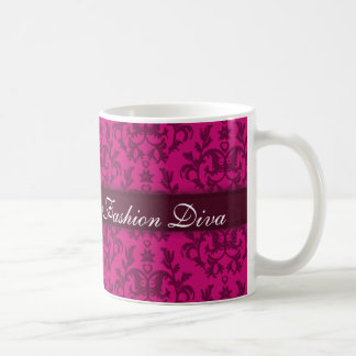 Fashion Diva damask rick pink girls mug