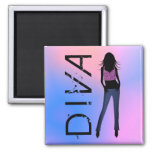 Fashion Diva in Blue Jeans Custom Square Magnets Refrigerator Magnets