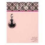 Fashion Diva Pink Raspberry Monogram Damask Letterhead Design