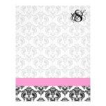 Fashion Diva Pink Raspberry Monogram Damask Personalized Letterhead