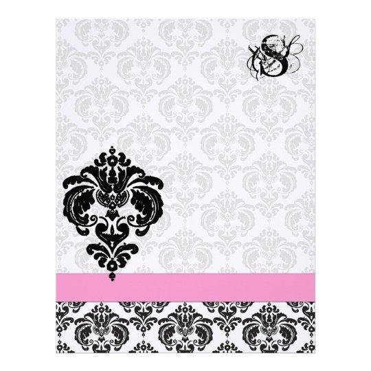 Fashion Diva Pink Raspberry Monogram Damask Letterhead