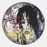 Fashion Diva Swirled Round Sticker