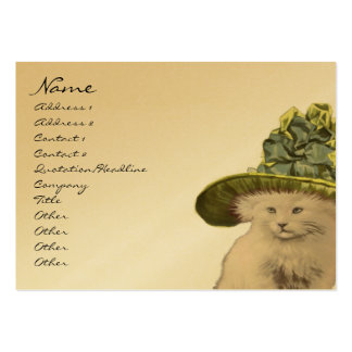 Fashion Diva Vintage Kitty Cat Business Cards Lime