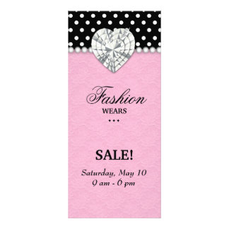 Fashion Dots Jewels Pearl Heart Lace Pink Rack Card