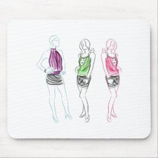 Fashion Drawing Short Skirt Women Mouse Pad
