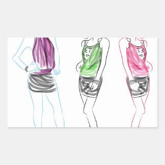 Fashion Drawing Short Skirt Women Rectangular Sticker