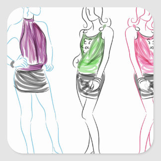 Fashion Drawing Short Skirt Women Square Sticker
