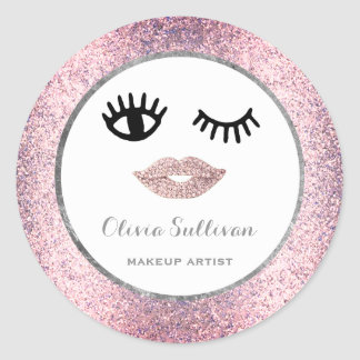 fashion face makeup on faux pink glitter classic round sticker
