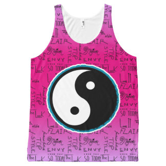 Fashion Fixation Yin Yang Ombre (hot diva pink) All-Over-Print Tank Top