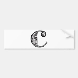 Fashion font, Letter c Bumper Sticker