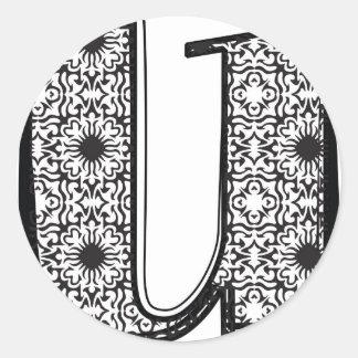 Fashion font, Letter u Classic Round Sticker
