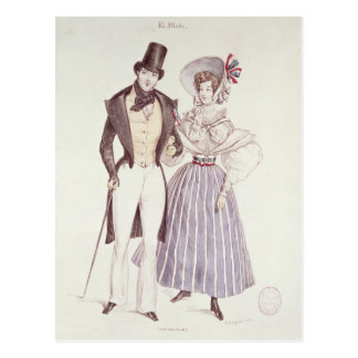 Fashion for Men and Women, 1830 Postcard