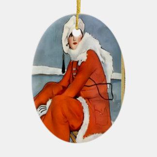 Fashion for the ski slopes christmas ornaments