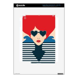 Fashion french stylish fashion chic illustration skin for iPad 3