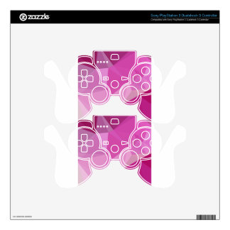 Fashion Fuchsia Pink Abstract Low Polygon Backgrou Skins For PS3 Controllers