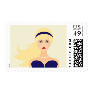 Fashion Gal Blue Party Woman Pearls Stamp
