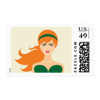 Fashion Gal Green Party Woman Pearls Stamp