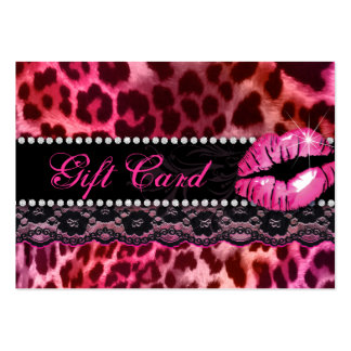 Fashion Gift Card Lace Lips Leopard Pink Red Large Business Cards (Pack Of 100)