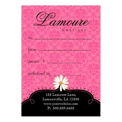 Fashion Gift Card Pretty Shoes Dress Pink Black Business Card