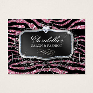 Fashion Gift Card Salon Zebra Glitter Black Pink
