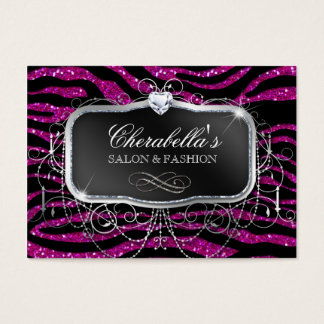 Fashion Gift Card Salon Zebra Glitter Silver Pink