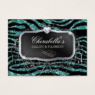 Fashion Gift Card Salon Zebra Glitter Silver Teal