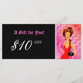 Fashion Gift Certificate Jewelry Zebra Lace Pink