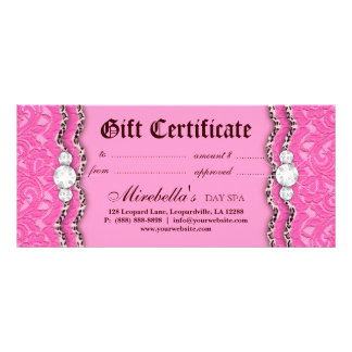 Fashion Gift Certificate Leopard Lace Pink Brown