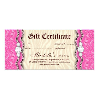 Fashion Gift Certificate Leopard Lace Pink Cream