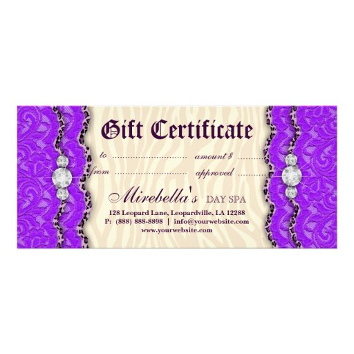 Fashion gift certificate leopard lace purple cream custom rack cards zazzle for Zazzle gift certificate