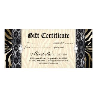 Fashion Gift Certificate Zebra Lace Gold Cream