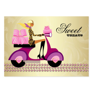 Fashion Gifts Scooter Girl Jewelry Pink Gold Blond Business Card