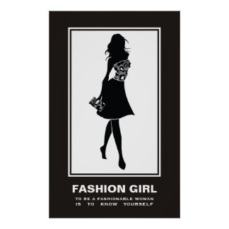 Fashion girl black white leopard print poster