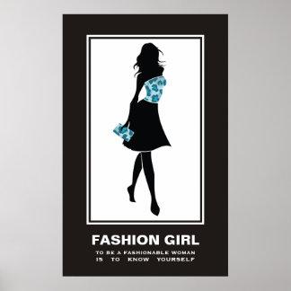 Fashion girl blue teal leopard print poster