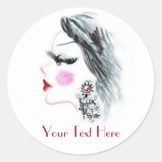 Fashion Girl Customizable Classic Round Sticker