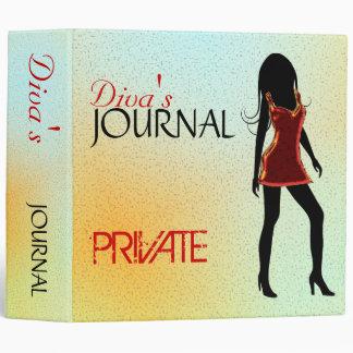 Fashion Girl Diva in Red Dress Journal 3 Ring 3 Ring Binder