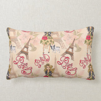 Fashion Girl in Paris Pattern Lumbar Pillow
