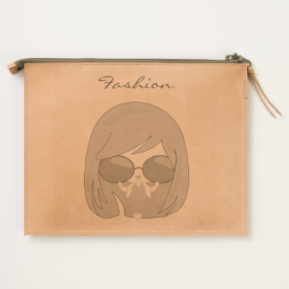 Fashion girl leather travel pouch