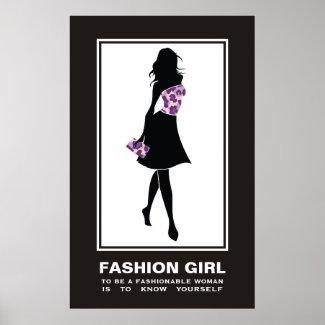 Fashion girl lilac purple leopard print poster print