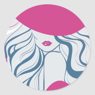 Fashion girl/model classic round sticker