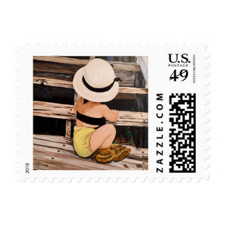 Fashion girl painting with hat and moccs postage
