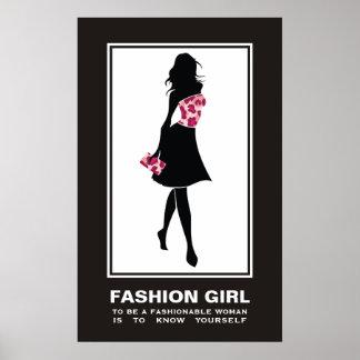 Fashion girl pinkleopard print poster
