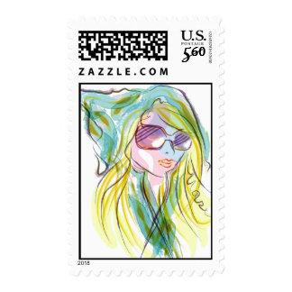 Fashion girl stamp