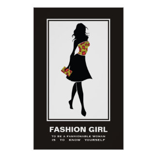 Fashion girl red green leopard print poster